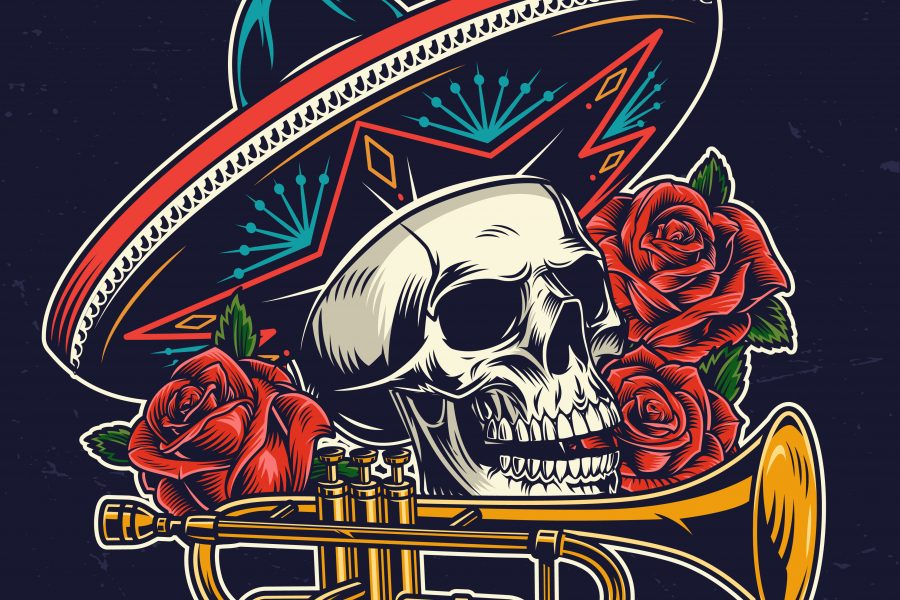 Mexican Day of Dead colorful concept