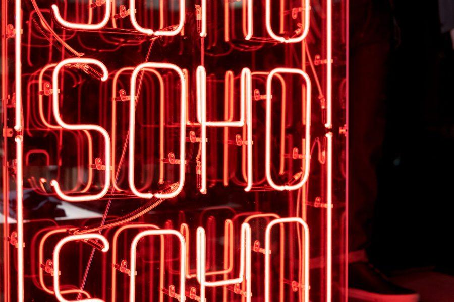 Red Neon Soho Sign Illuminated in London